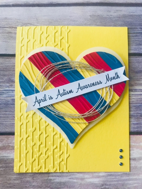 Handmade card honoring autism awareness month
